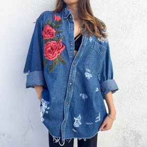 LF Rose Embroidered Chambray Shirt 🥀